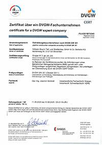 DVGW-Fachunternehmen nach GW 301 Rohrleitungsbau